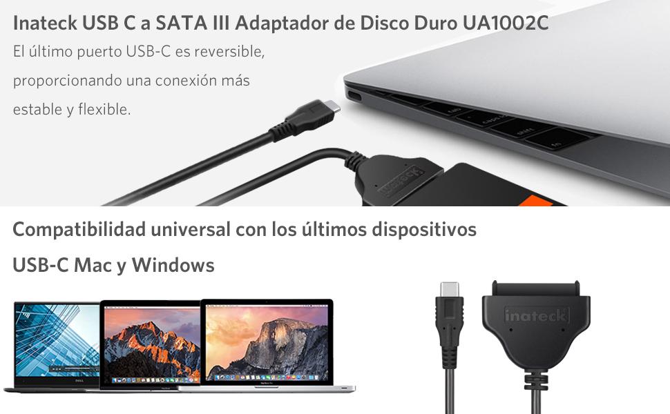Inateck Adaptador de USB C a SATA III, Cable SATA Convertidor ...