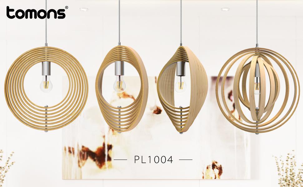 Tomons Lámpara colgante Lámpara de techo Esfera en Madera Estilo Nórdico Ajustable para Casa, Tiendas Bares Restaurantes - PL1004