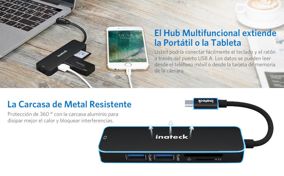 Inateck Hub USB C Aluminio Sútil USB 3.1 Gen 1 Adaptador con ...