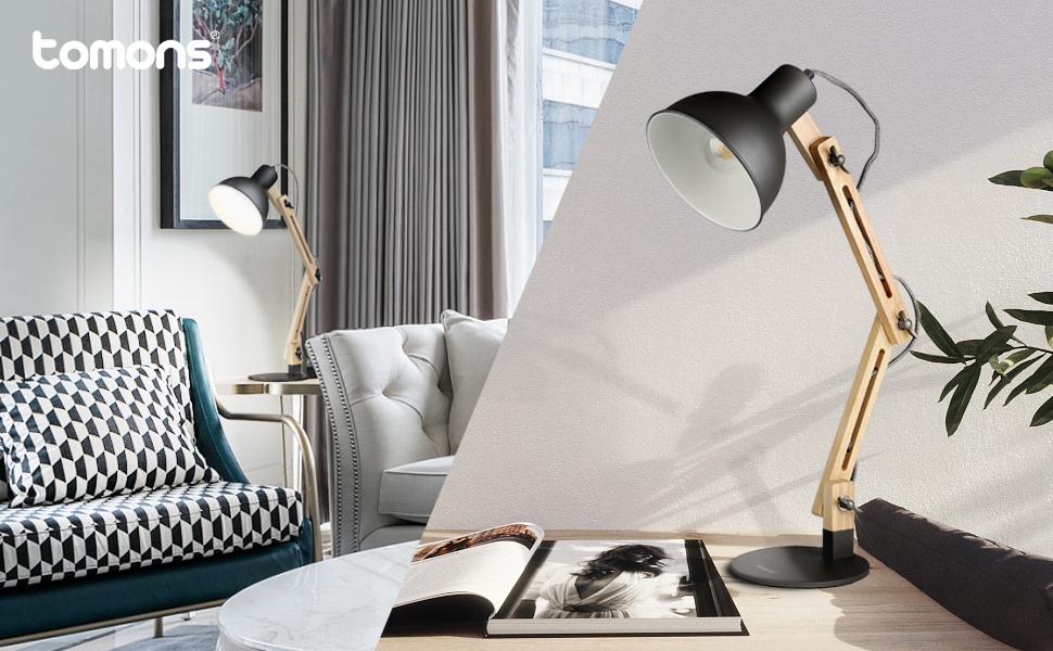 Lámpara de Escritorio,Columpio del Brazo,lámpara de Mesa Ajustable y Desmontable de Madera para Oficina, Sala, Estudio y Dormitorio, Negro – Tomons