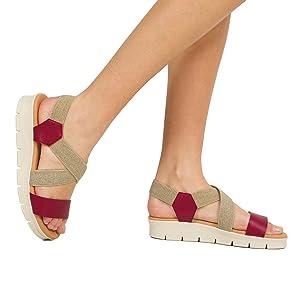 Descanso –Sandalia con Tiras y elásticos Blanca: Amazon.es: Zapatos y complementos