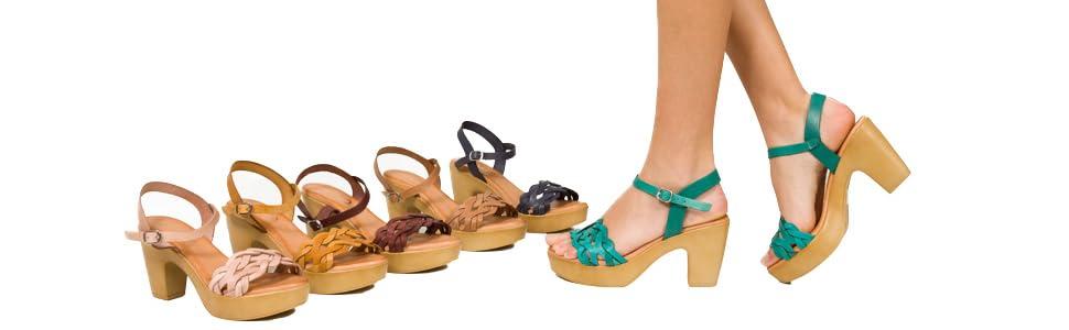 MiMaO - Zapatos Sandalias de Piel Fabricadas en España. Cómodo. Sandalias de tacón Alto. Sandalias de Plataforma para Mujer. Zapatos cómodos de Verano, Marrón (marrón), 38 EU: Amazon.es: Zapatos y complementos