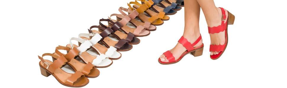 Olas Sandalia de Mujer con tacón bajo ROJA: Amazon.es: Zapatos y complementos