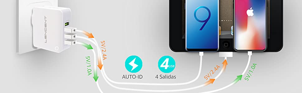 Cargador USB Multipuerto, LENCENT Ladron Enchufes, 4.4A 5V