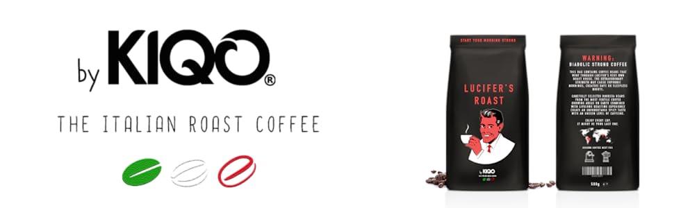 LUCIFERS ROAST Espresso de KIQO de Italia - café extremadamente fuerte - bajo en ácido 100