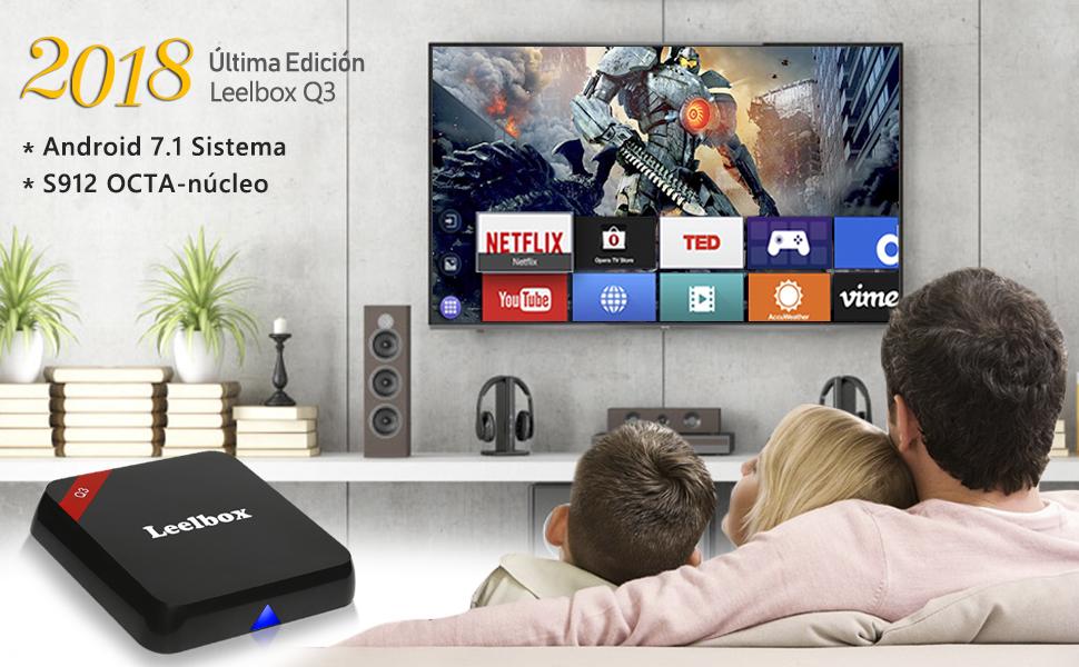 2018 Leelbox Q3 Android 7.1 TV Box, Octa Core Amlogic S912/2GB RAM+16GB ROM Smart TV Box/Dual-WiFi de 2.4GHz y 5.8GHz/BT 4.0/HD/H.265/4K(60 HZ)/1000M LAN: Amazon.es: Electrónica