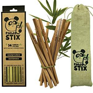 4 pajas de bambú natural reutilizables