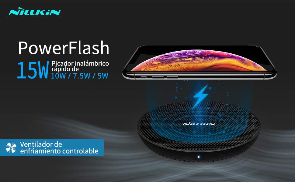 NILLKIN Cargador inalámbrico rápido de 15W, Carga inalámbrica con Ventilador de refrigeración,para iPhone 11/11 Pro/11 Pro MAX XS/XS MAX/XR/X/8 ...
