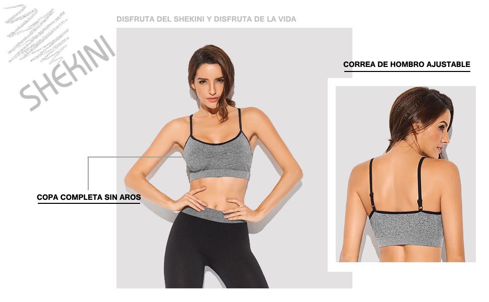 SHEKINI Sujetador Deportivo para Mujer Top con Relleno Extraíble ...