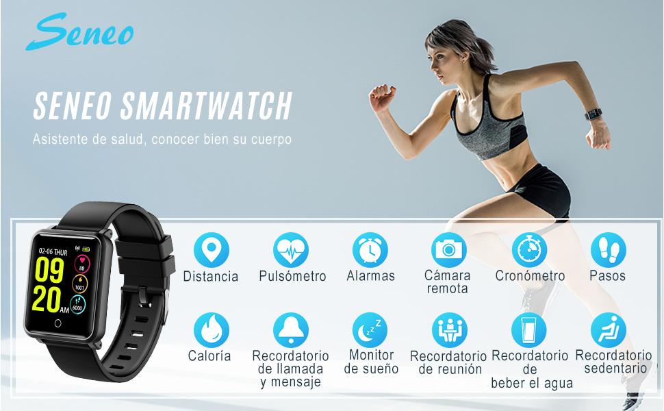 Smartwatch IP68, Reloj Inteligente Hombre con 8 Modos Deporte, Reloj Deportivo, Monitor de sueño, Pulsómetro, Podómetro, Notificación Llamada y ...