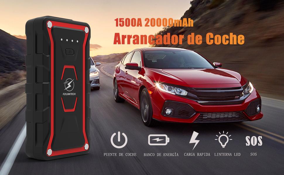 FLYLINKTECH Arrancador de Coches, 1500A 20000mAh Arrancador Batería Coche (para Todo vehículo de Gasolina o 7.0L de Diesel) de IP68 Impermeable ...