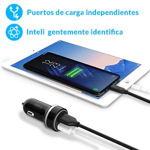 YOSH Cargador de Coche con Doble USB Puerto, 24W 4.8A Cargador Coche con Carga Rápida indicador LED, Cargador Móvil para iPhone 11 Xiaomi RedMi Note 8 ...