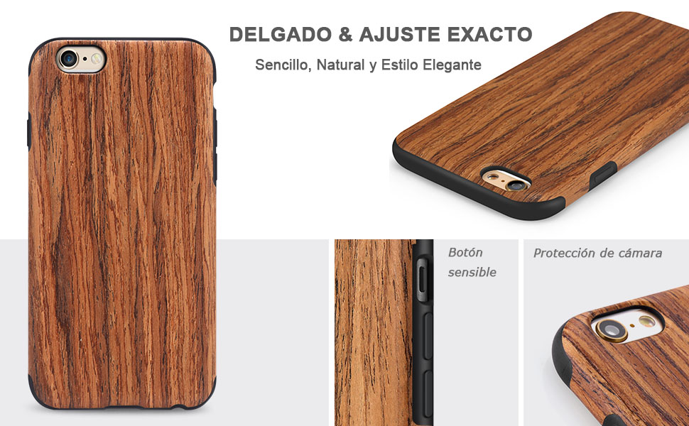 TENDLIN Funda iPhone 6s Grano de Madera Silicona TPU Híbrido Suave Carcasa para iPhone 6 6s, Sándalo Rojo