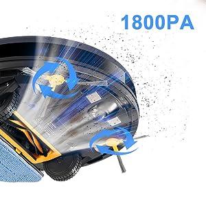 Fuerte succión 1800Pa, robot aspirador, robot aspirador y fregasuelos, ultra silencioso, autocarga