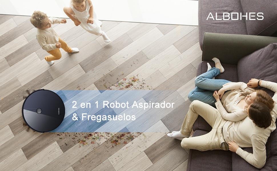 robot aspirador fregasuelo 2 en 1, aspirar, barrer, fregar, 1800pa, delgado, tranquilo, autocarga