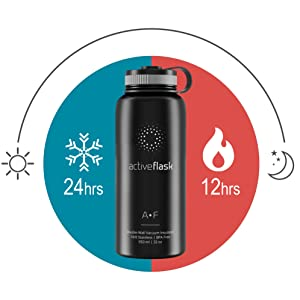 Pajita Botella de Agua T/érmica Active Flask Cantimplora Aislada Bicicleta Deporte Caliente Fr/ía Caf/é T/é 3 Tapones sin BPA 1l /& 500ml Frasco Termo de Acero Inoxidable Aislamiento Vac/ío