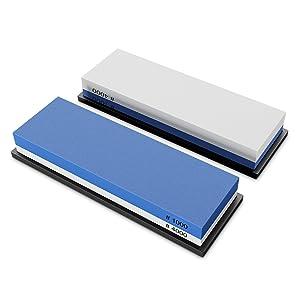 Piedra de afilar doble / Afilador de cuchillos manual + Guía con instrucciones – Set portátil + base de silicona – Piedra afiladora grano 1000/4000 | ...