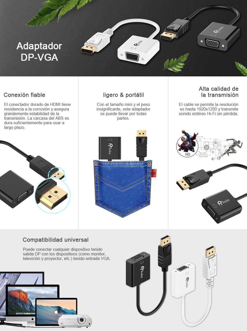 Rankie - Adaptador DisplayPort DP a VGA,1080P, Negro: Amazon.es: Electrónica