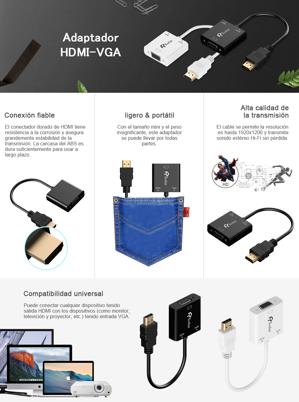 Rankie - Adaptador HDMI a VGA con Puerto de Audio de 3,5 mm, Color ...