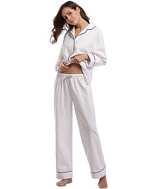 【Estilo】V Ropa de Dormir para Mujer 【Diseño Dos Piezas】Pantalones largos elástica de la cintura 【Material】100% Algodón