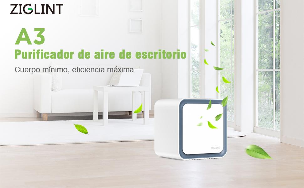 ZIGLINT Purificador de Aire Iónico, Portátil y Silencioso con Auténtico Filto HEPA para Peducir el Ola a Moho en Casas,Oficina, Fumadores, Cocinas y Alergias: Amazon.es: Hogar