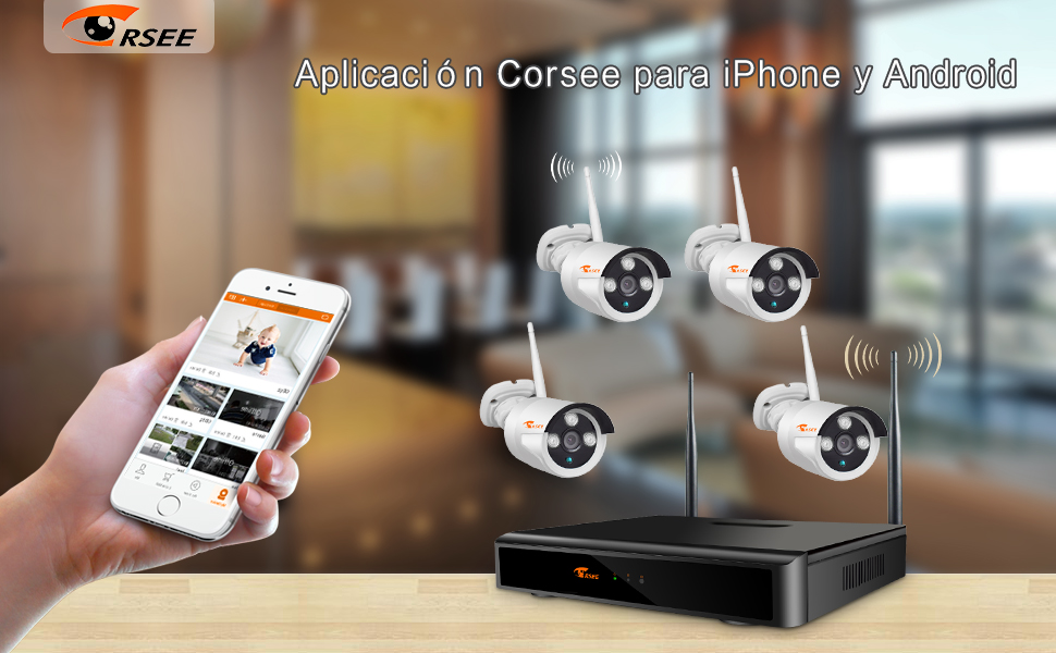 1080P 4 Canals NVR+ 4x720P Cámaras-1TB Disco Duro