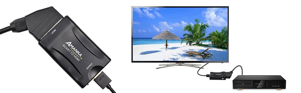 AMANKA Convertidor Euroconector a HDMI Conversor de Audio Vídeo 1080p Reproductor de Adaptador Entrada Scart Salida HDMI Apoyo 720/1080P para HDTV,DVD BLU-Ray,VCR,Proyector,VHS,PS1,PS2,Xbox: Amazon.es: Electrónica