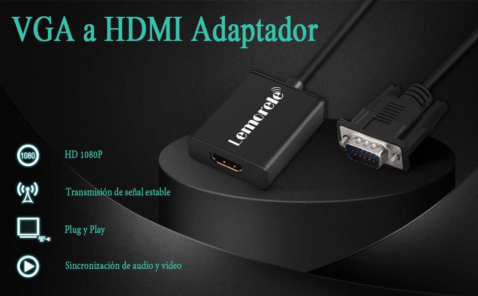 Lemorele VGA a HDMI Adaptador con Audio 1080P 60Hz Conversor VGA Macho a HDMI Hembra Conexión de Computadora Portátil, PC, TV Box con Salida VGA a HDTV, Monitor, Proyector con Entrada HDMI-Negro: