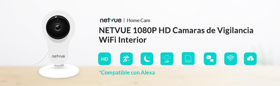 Camaras Vigilancia WiFi Interior, Netvue Full HD 1080P Cámara WiFi Compatible Alexa con Audio Bidireccional, Detección de Movimiento, Visión Nocturna, ...