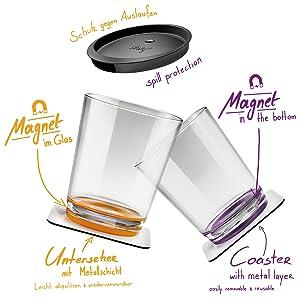 Barco ni/ños LIU Blue silwy Magnetic drinkware Vasos de pl/ástico irrompibles y Antideslizantes con im/án Integrado y Posavasos met/álicos Camping