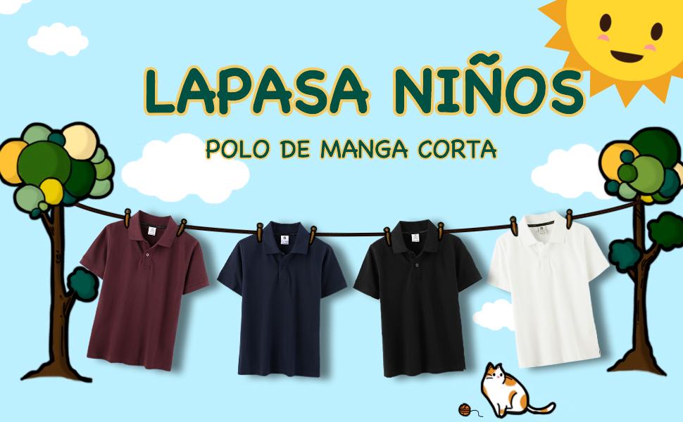 LAPASA Polo para Niños de Manga Corta Camiseta Casual Unisex 100 ...