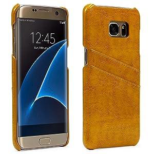 Urcover Funda Samsung Galaxy S7 Edge Fashion Backcase Vintage [Eco Cuero] Amarillo Carcasa Samsung Galaxy S7 Edge Funda [Ranura Tarjetas] Móvil Smartphone: Amazon.es: Electrónica