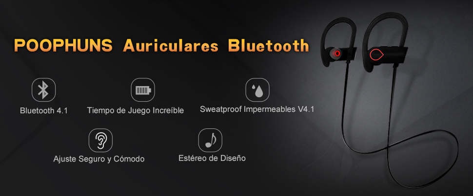 Auriculares Bluetooth 4.1, Auriculares Inalambricos, POOPHUNS ...