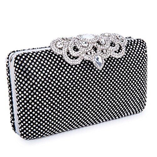 CLOCOLOR Bolso de Mano con Diamantes Cristales Brillantes Cartera de Mano Estilo Elegante de Lujo Bolso de Fiesta para Mujer Negro