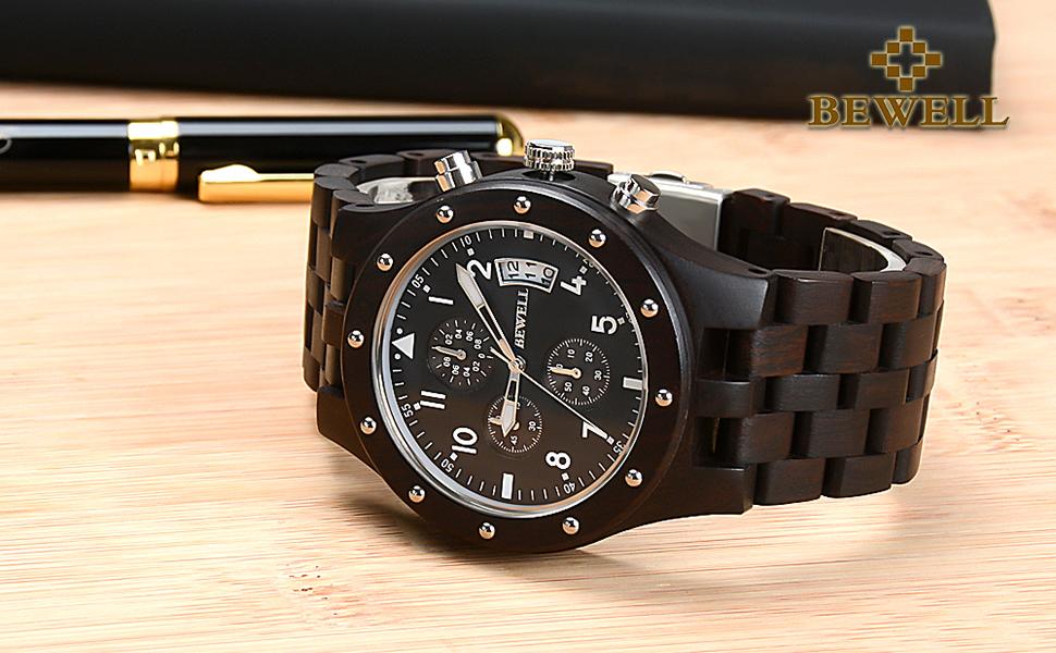 Reloj de madera multifuncional bewell para hombre.
