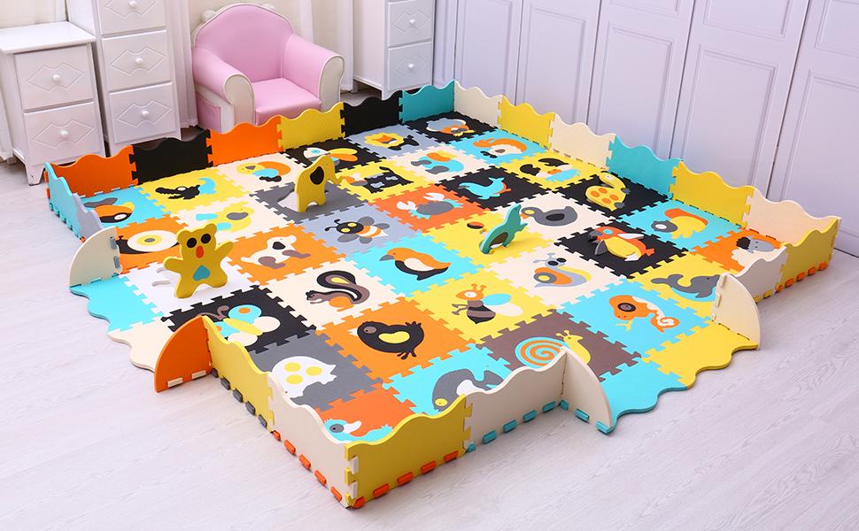 meiqicool Niños Suave Eva Espuma Jigsaw Puzzle Actividad Juego de Rompecabezas de Piso de Enclavamiento Azulejos por 35