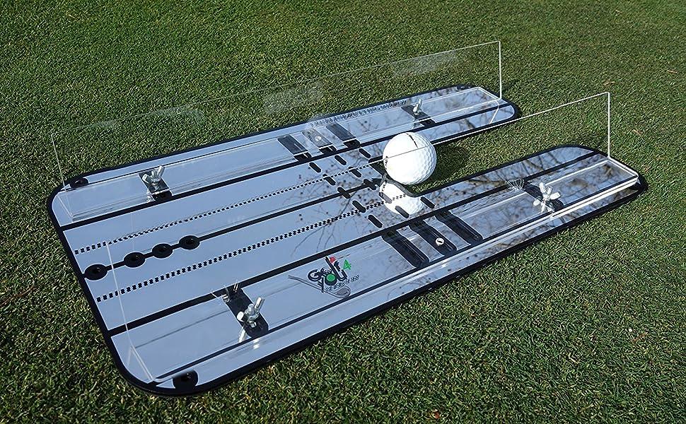 Entrenamiento de Golf - Espejo de alineación Golf XL para Colocar con Sistema de rieles de guía Ajustables perfeccionar tu Swing Bow en Putting