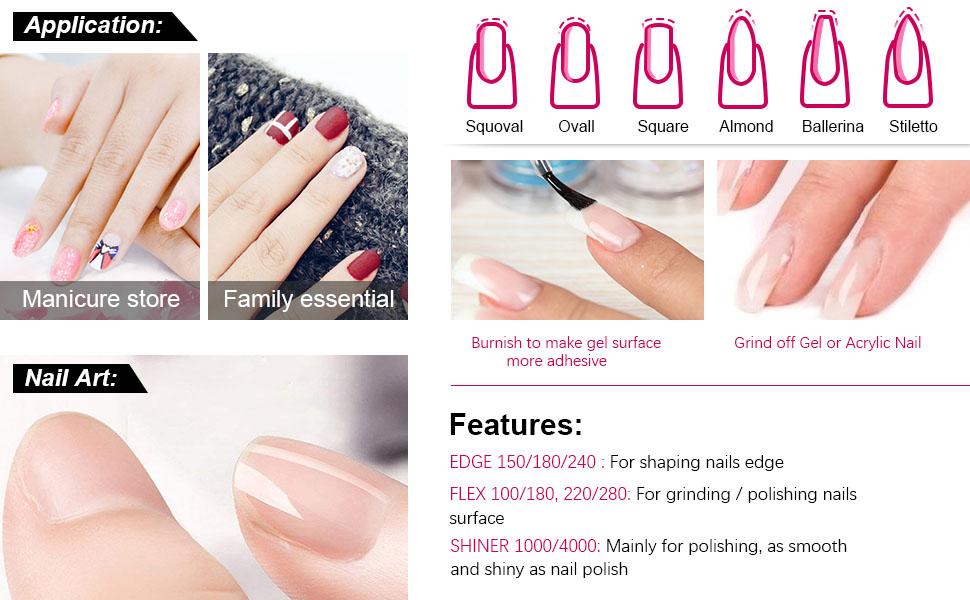 Lima De uñas Profesional Gel Acrílico Limas uñas para Arte de Uña papel de lija esmerilado Pulido Manicura 6 Piezas