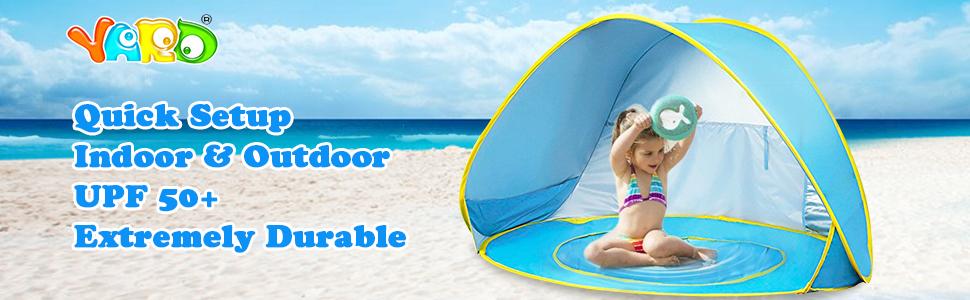 YARD Tienda Playa Bebe, Tienda de Campaña para Niños Pop-up con Piscina de Bebé Plegable Automático con Protección Solar de Protección UV 50 ...