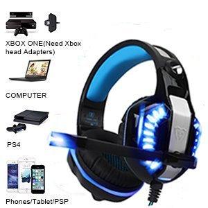 BlueFire Cascos para Xbox One PS4, Auriculares Gaming Bajo Envolvente Estéreo de Luz LED con Micrófono 3.5mm Puerto Compatible con Xbox One, PS4,PC y ...