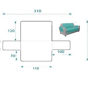 textil-home Funda Cubre Sofá Adele, 3 Plazas, Protector para Sofás Acolchado Reversible. Color Gris
