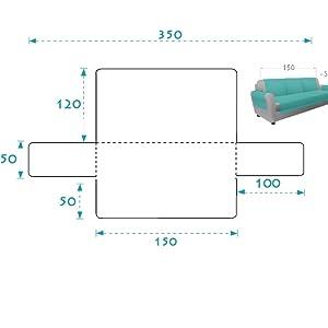 textil-home Funda Cubre Sofá Adele, 2 Plazas, Protector para Sofás Acolchado Reversible. Color Azul