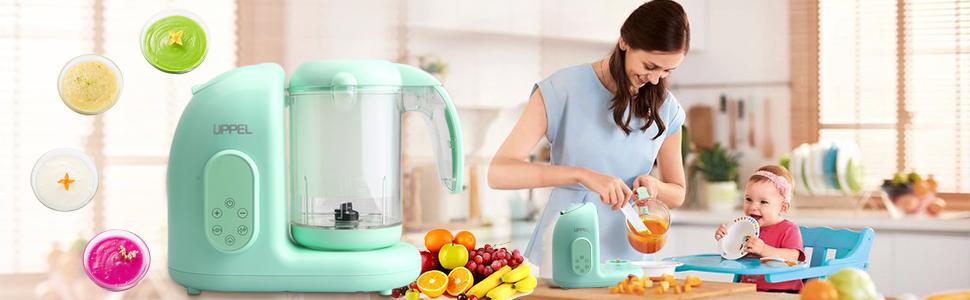 Robot de Cocina, UPPEL Licuadora Bebé Trituradora de Alimentos para Bebé Potencia de 300W / 65W Vapor Alta Temperatura Combinación de Múltiples Funciones para el Bebé(Verde): Amazon.es: Hogar