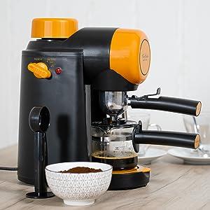 ECODE Cafetera Espresso Forte Classic, 5 Bar, Vaporizador Orientable, Máquina De Café, Sistema Latte, Capuccino, Jarra para 2 o 4 comensales, 800 w, ...