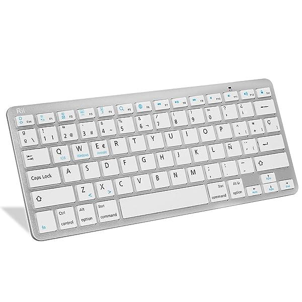 Rii Bluetooth Teclado Español Bt09 Ultra-Delgado Mini Para Iphone/Ipad Air/Ipad Pro/Ipad Mini y Todas Sistemas de Ios,No Se Adapta a Macbook (Blanco)