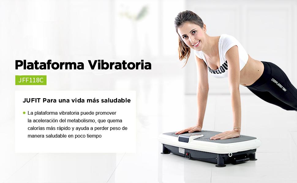 JUFIT Plataforma Vibratoria Con 5 Programas y 20 Ajustes de Velocidad Multifuncional Máquina de Ejercicios Para Quemar Grasa Corporal,Blanco