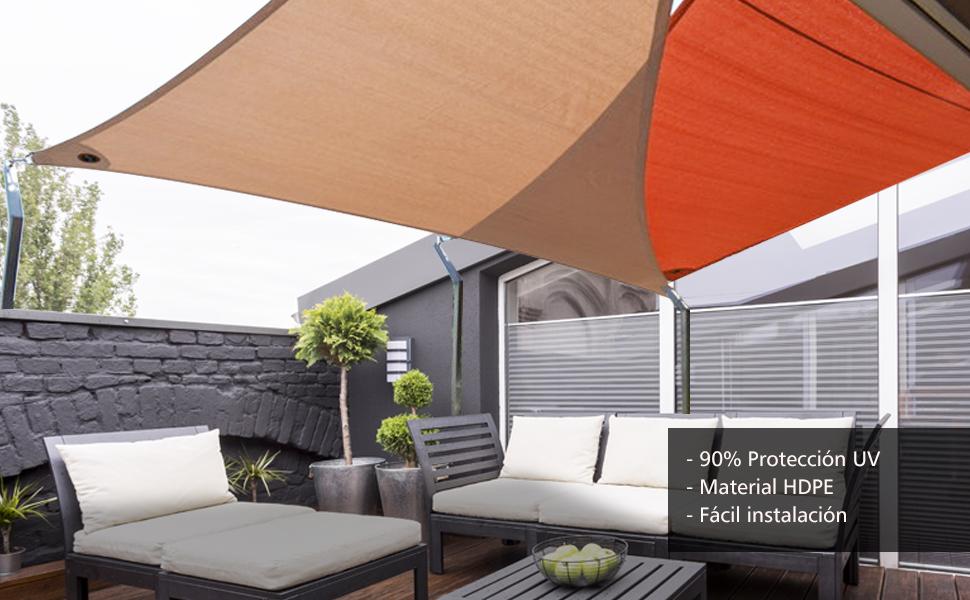 Cool Area Toldo vela de sombra triangular 4 x 4 x 4 metros protección rayos UV, resistente y transpirable (varios colores y medidas),, color arena