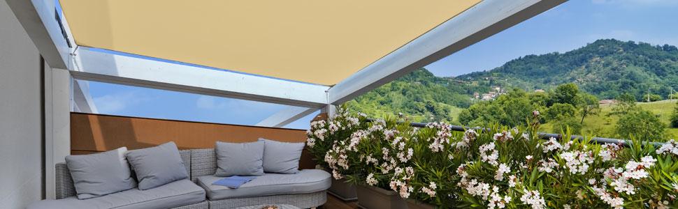 Cool Area Toldo Vela de Sombra Cuadrado 3 x 3 Metros, Impermeable Protección UV para Patio Exteriores Jardín, Color Arena