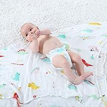Lebze Bebé Muselina Swaddle Manta -