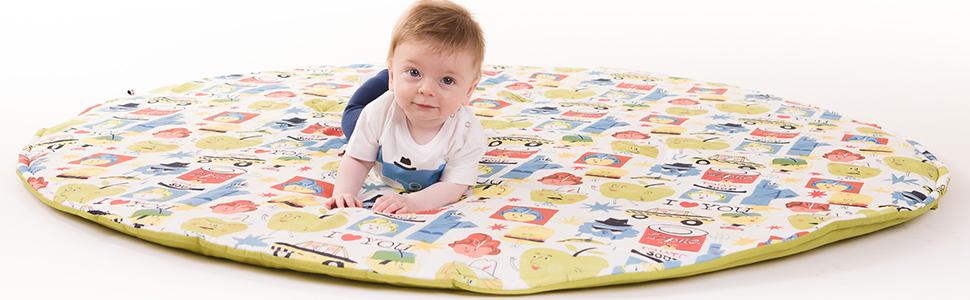 Alfombras de juego y gimnasios Manta de juegos para bebés acolchada plegable enrollable gimnasio suelo actividades alfombra Tamaño único 130x90 cm Fabricada en España Decoracion Regalo bebe Big Apples